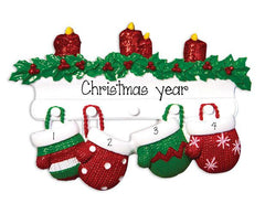 FAMILY OF 4 RED AND GREEN MITTENS / MY PERSONALIZED ORNAMENTS
