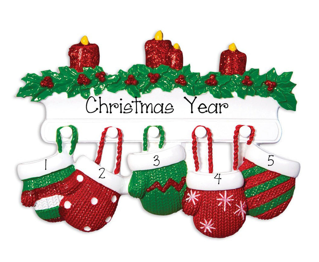 Family of 5~ MITTENS ~Personalized Christmas Ornament