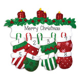 FAMILY OF 8 RED AND GREEN MITTENS / MY PERSONALIZED ORNAMENTS