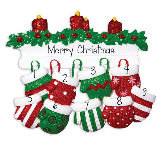 Family of 9 Red & Green Mittens - Ornament