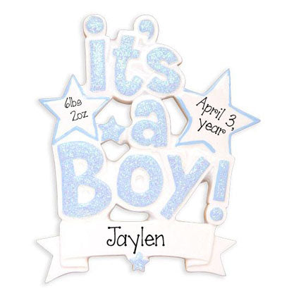 it's a boy with blue Glitter personalized ornament