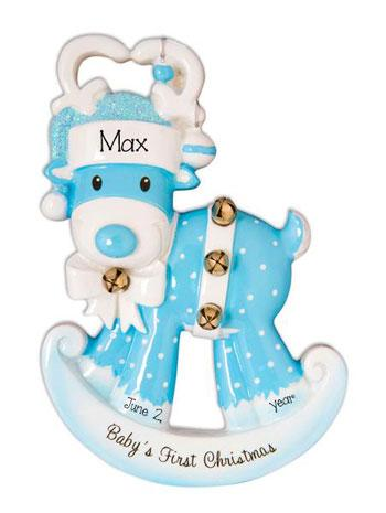 Baby Boy Rocking Reindeer Baby's 1st Christmas - Personalized Christmas Ornament