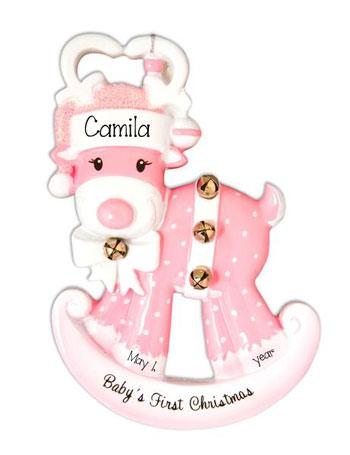 Baby Girls's 1st Christmas Rocking Reindeer - Personalized Ornament