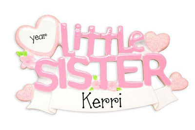 Little Sister with Pink Glitter Hearts - Personalized Christmas Ornament
