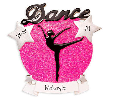 Dance Silhouette with Pink Glitter - Personalized Christmas Ornament