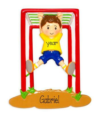 Boy playing on Jungle Gym or Monkey Bars - Personalized Christmas Ornament