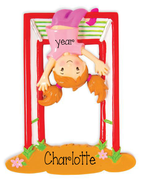 Girl Hanging on monkey Bars - Personalized Christmas Ornament