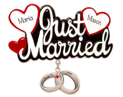 Just Married with two hearts trimmed in Red and rings dangling ~ Personalized Christmas OrnamentJust married with 2 ~ Personalized Christmas Ornament