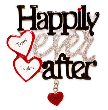 Happily Ever After with Silver Glitter~ Personalized Ornament