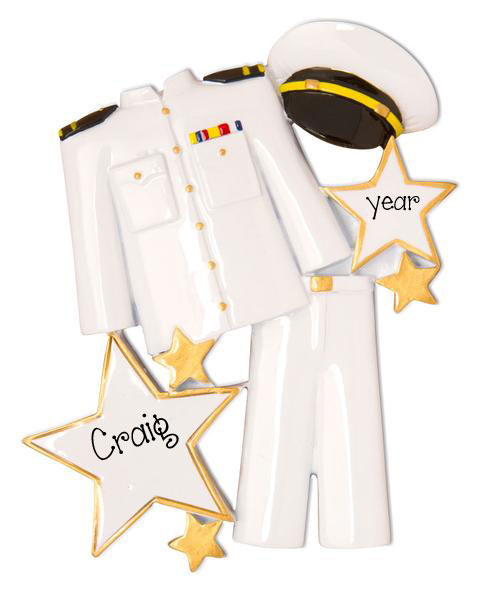 Navy White Uniform -Personalized Ornament