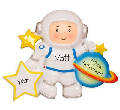 Astronaut with Planet-Personalized Christmas Ornament