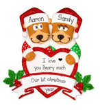 Brown Bear Couple Trimmed in Red Glitter~ Personalized Christmas Ornament