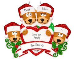 Family of 4 Brown Bears with Red Glitter Trimmed Heart and Santa Hats ~ Personalized Christmas Ornament