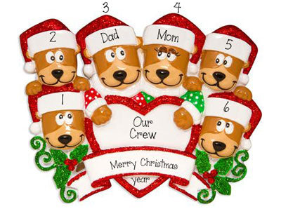 Family of 6 Brown Bears with Red Glitter Santa Hats~Personalized Christmas Ornament