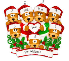Family of 7 Brown Bears with Red Glitter Trimmed Heart and Santa Hats~Personalized Christmas Ornament