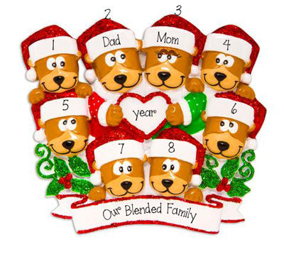 Family of 8 Brown Bears with Red Glitter Santa Hats~Personalized Ornament