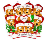 Family of 8 Brown Bears with Red Glitter Trimmed Heart and Santa Hats~Personalized Christmas Ornament