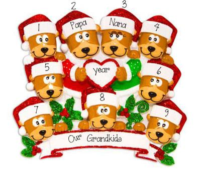 Brown Bear Grandparents with 7 Grandkids~Personalized Ornament