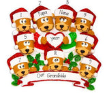 Brown Bear Grandparents with 7 Grandkids  - Personalized Christmas Ornament