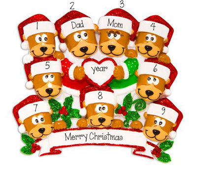 Family of 9~Brown Bears~Personalized Christmas Ornament