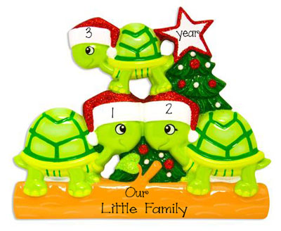 Family of 3 Green Turtles with Red Glitter Santa Hats ~ Personalized Christmas Ornament