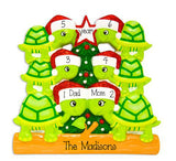 Family of 6 Green Turtles with Red Glitter Santa Hats ~ Personalized Christmas Ornament