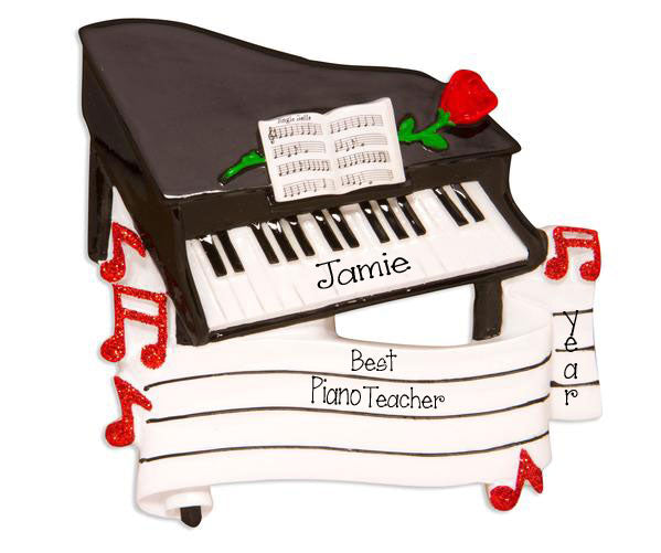 Grand Piano with a Red Glitter Rose - Personalized Ornament