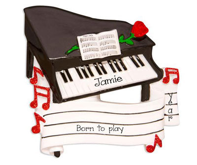 Grand Piano with a Red Glitter Rose - Personalized Christmas Ornament