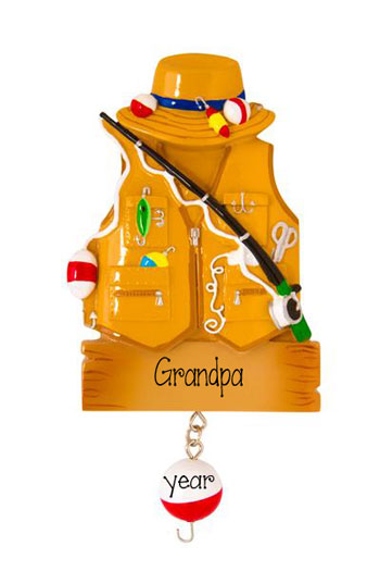 Fishing Vest Fishing Pole - Personalized Christmas Ornament