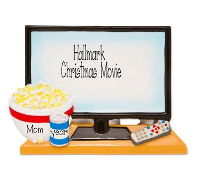 Big Screen TV for movie night with a bowl of Pop Corn and a Drink - Personalized Christmas Ornament