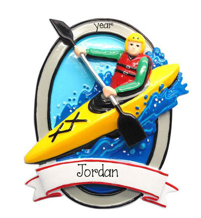 Kayaking on Rough Waters-Personalized Christmas Ornament