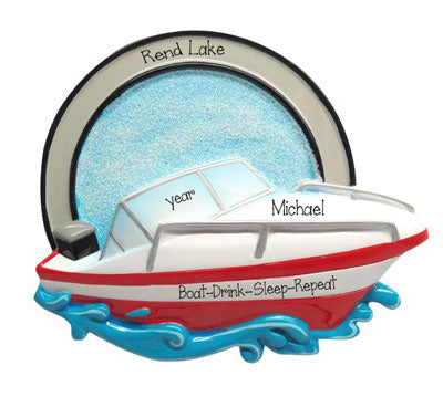 Red and White Boat on the water-Personalized Ornament