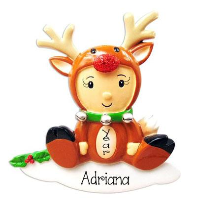 Baby Girl Rudolph with Red Glitter Nose ~ Personalized Christmas Ornament