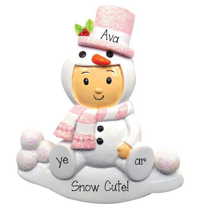 Baby Girl Snowman with Pink glitter Top Hat-Personalized Ornament