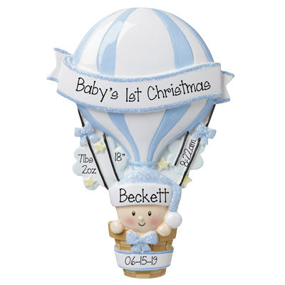 Hot air balloon boy personalized ornament