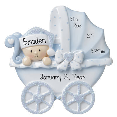 New Baby Carriage-Boy Personalized Ornaments