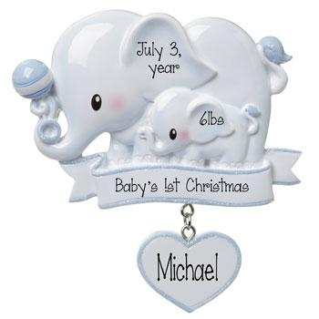 Baby Boy Blue Elephant-Personalized Ornament