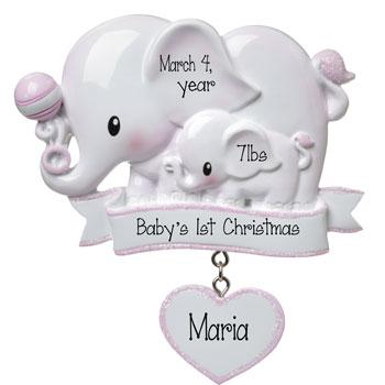 Baby Girl pink Elephant-Personalized Ornament