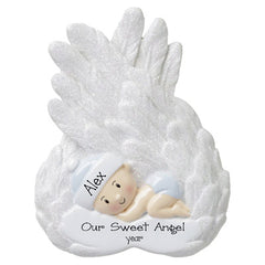 Memorial Baby Boy Wrapped in Glittered Wings-Personalized Ornament