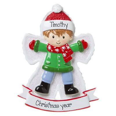 Boy SNOW ANGEL Personalized Ornament