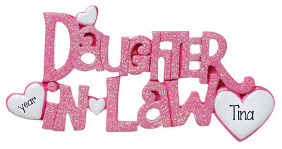 Our Daughter In Law Pink glittered ornament is the perfect gift for your bonus daughter.