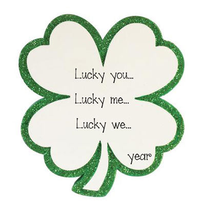 Shamrock Trimmed in Green Glitter ~ Personalized Ornament