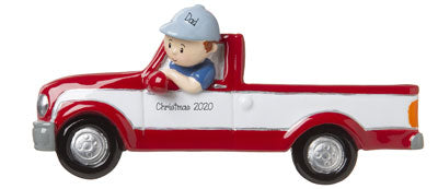DAD in his RED and WHITE TRUCK-Personalized Ornament
