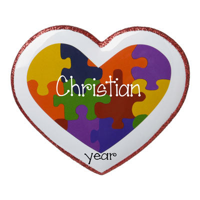 Personalized-Heart shaped Autism Puzzle Pieces-Christmas Ornament