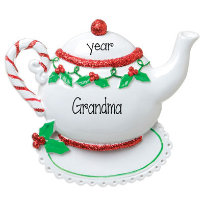 Grandma's Red Glitter Tea Pot is sitting on a Doily- Personalized Christmas Ornament