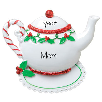 Mom's Red Glitter Tea Pot is sitting on a Doily- Personalized Christmas Ornament