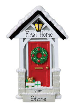 First New Home with Red Door ~ Personalized Christmas Ornament