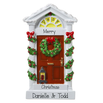 Red Door with Lantern and Green Wreath- personalized ornament