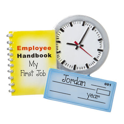 My First Job with employee handbook-personalized ornament