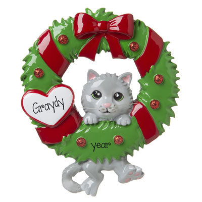 Gray Hanging on a Green Wreath with Red Glitter-personalized ornament